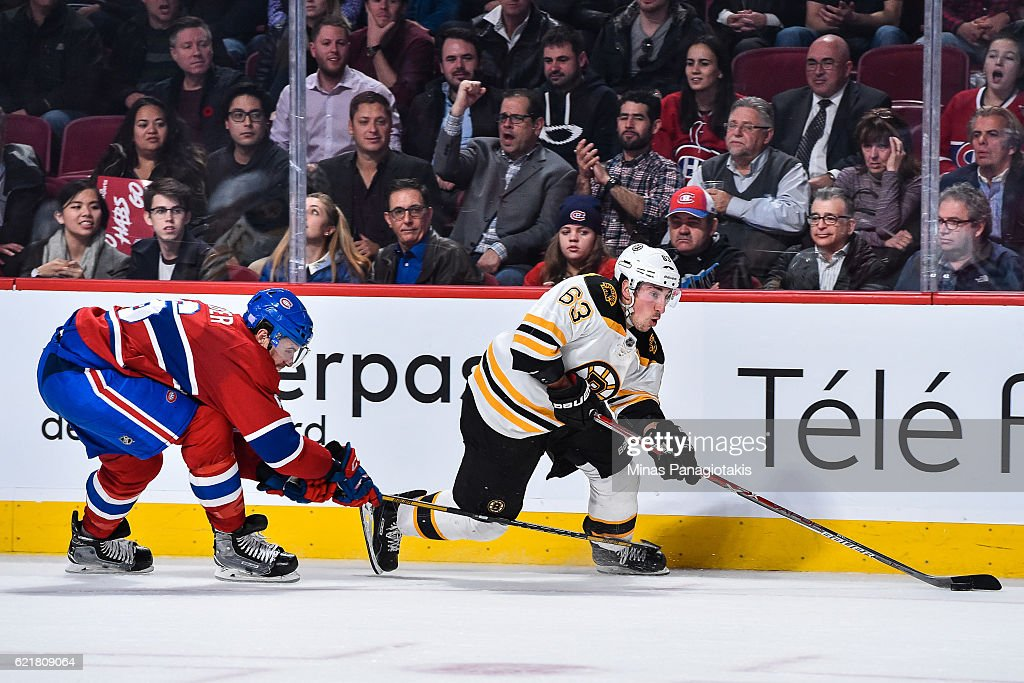 Brad Marchand #63 of the Boston Bruins skates the puck against Shea Weber #6 of the Montreal Canadiens during the NHL game at the Bell Centre on November 8, 2016 in Montreal, Quebec, Canada. The Montreal Canadiens defeated the Boston Bruins 3-2.