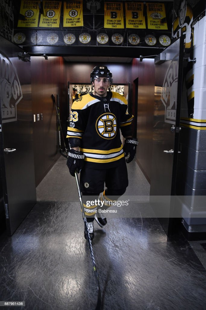 Brad Marchand #63 of the Boston Bruins walks out of the locker room for warm ups before the game against the Arizona Coyotes at the TD Garden on December 7, 2017 in Boston, Massachusetts.