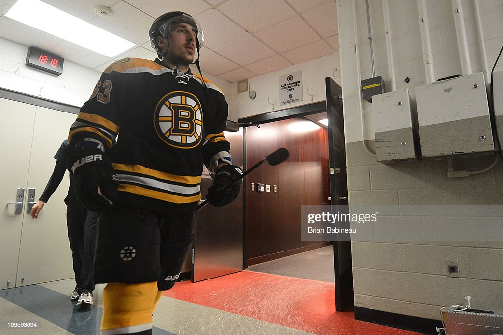 Brad Marchand #63 of the Boston Bruins walks out to warm ups before the game against the New York Rangers in Game Five of the Eastern Conference Semifinals during the 2013 NHL Stanley Cup Playoffs at TD Garden on May 25, 2013 in Boston, Massachusetts.