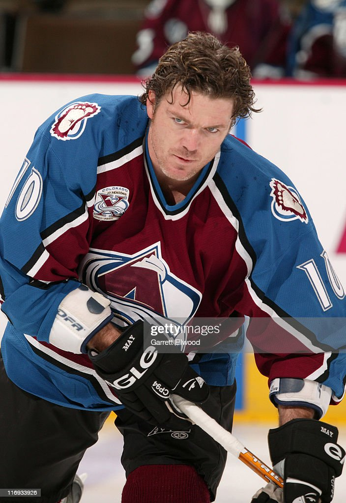 <a gi-track='captionPersonalityLinkClicked' href=/galleries/search?phrase=Brad+May&family=editorial&specificpeople=212874 ng-click='$event.stopPropagation()'>Brad May</a> #10 of the Colorado Avalanche prior to the game against the Vancouver Canucks on October 27, 2005 at Pepsi Center in Denver, Colorado.