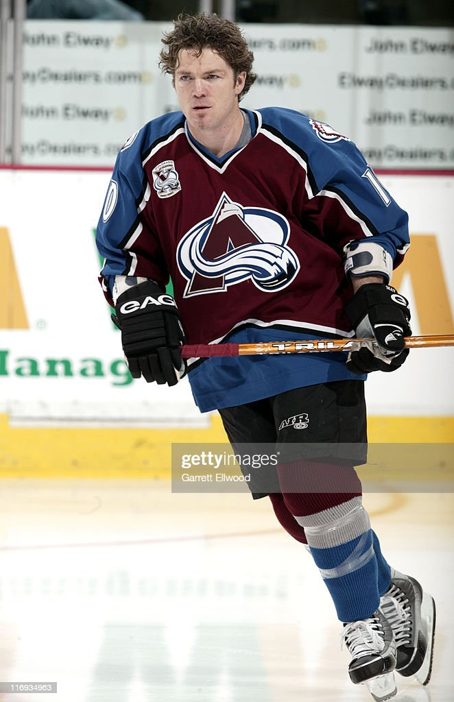 <a gi-track='captionPersonalityLinkClicked' href=/galleries/search?phrase=Brad+May&family=editorial&specificpeople=212874 ng-click='$event.stopPropagation()'>Brad May</a> #10 of the Colorado Avalanche prior to the game against the Vancouver Canucks on January 28, 2006 at Pepsi Center in Denver, Colorado.