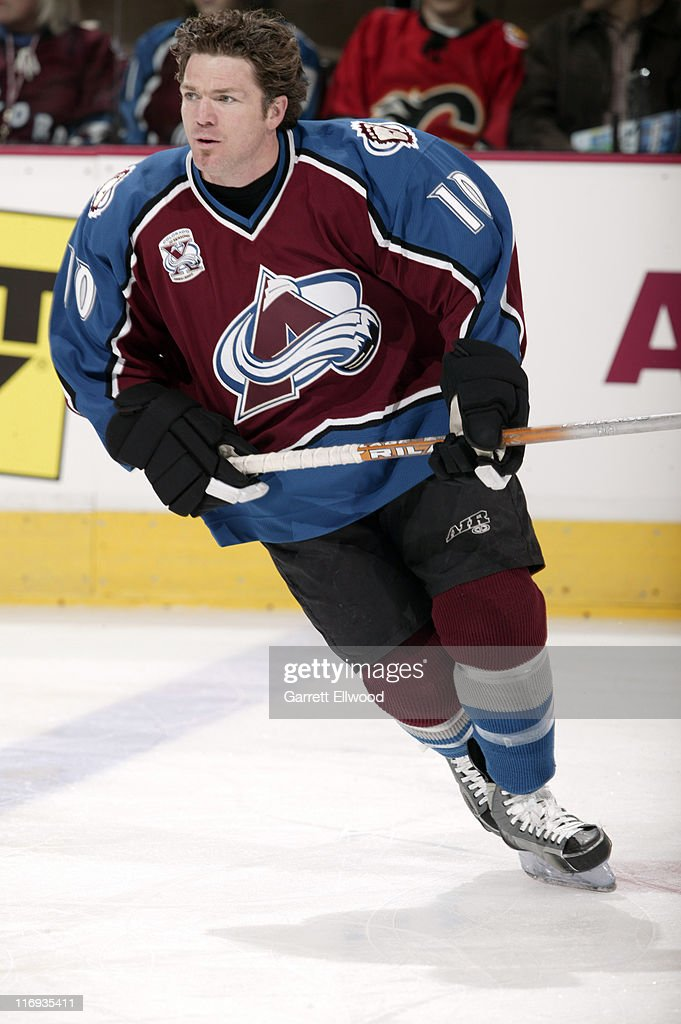 <a gi-track='captionPersonalityLinkClicked' href=/galleries/search?phrase=Brad+May&family=editorial&specificpeople=212874 ng-click='$event.stopPropagation()'>Brad May</a> #10 of the Colorado Avalanche prior to the game against the Edmonton Oilers on March 26, 2006 at Pepsi Center in Denver, Colorado.
