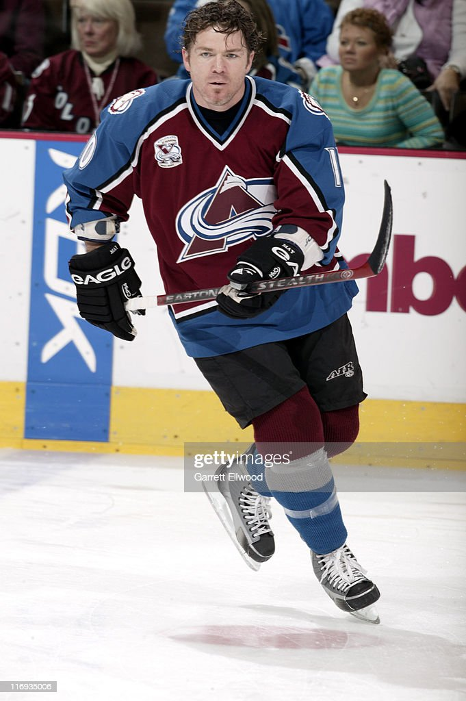 <a gi-track='captionPersonalityLinkClicked' href=/galleries/search?phrase=Brad+May&family=editorial&specificpeople=212874 ng-click='$event.stopPropagation()'>Brad May</a> #10 of the Colorado Avalanche prior to the game against the Detroit Red Wings on February 4, 2006 at Pepsi Center in Denver, Colorado.