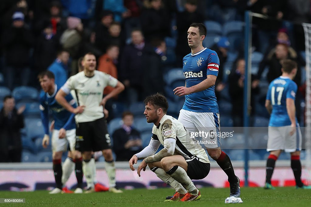 Brad McKay of Inverness reacts at full time during the Scottish Premier League match between Rangers and Inverness Caledonian Thistle at Ibrox Stadium on December 24, 2016 in Glasgow, Scotland.