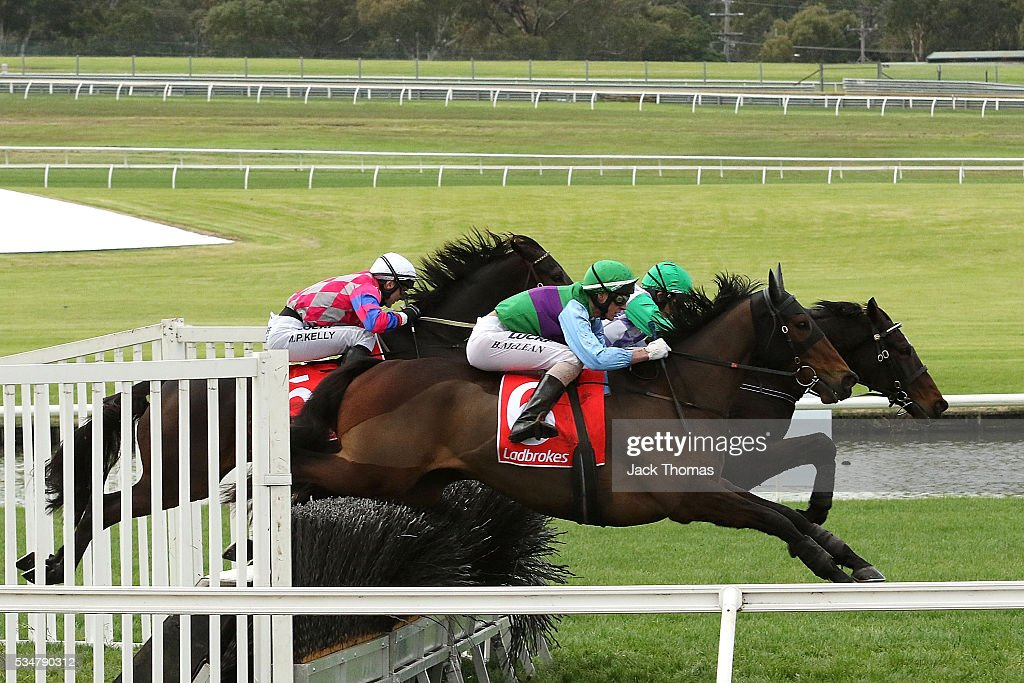 Brad Mclean riding Angelology jumps the last steeple before winning Race 4, The Australian Steeplechase during Melbourne Racing at Sandown Lakeside on May 28, 2016 in Melbourne, Australia.