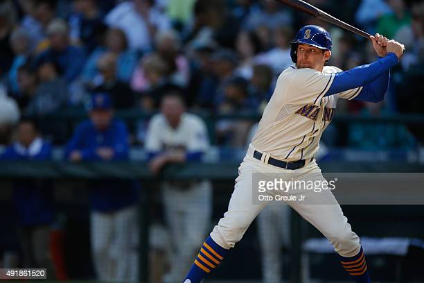 Brad Miller of the Seattle Mariners bats against the Oakland Athletics at Safeco Field on October 4 2015 in Seattle Washington