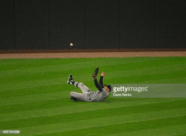 Brad Miller of the Seattle Mariners can't catch a single hit by Avisail Garcia of the Chicago White Sox during the fourth inning on August 29 2015 at...