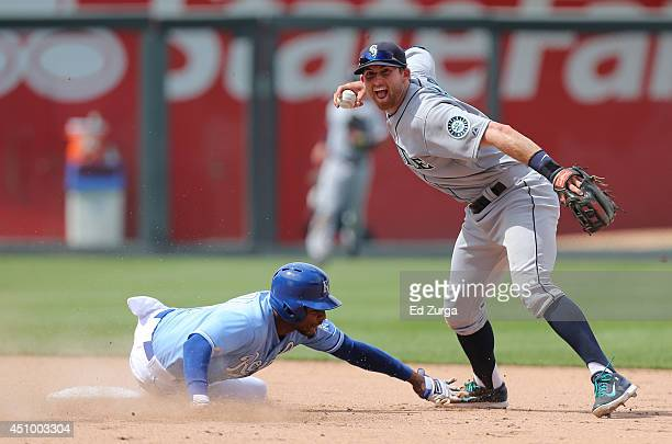 Brad Miller of the Seattle Mariners prepares to throw to first past Jarrod Dyson of the Kansas City Royals to complete a double play to end the game...
