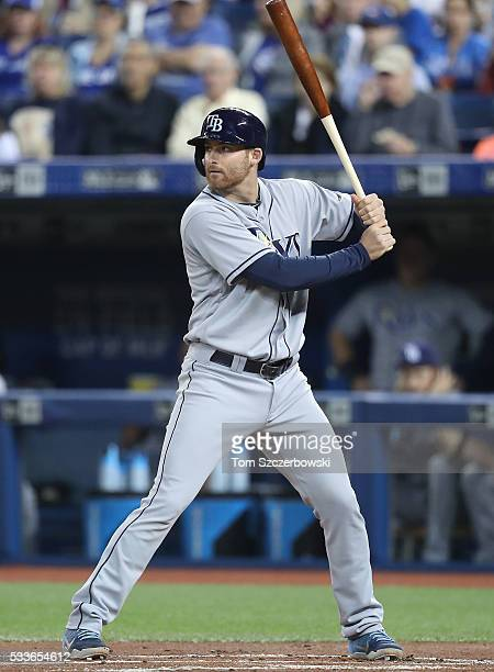 Brad Miller of the Tampa Bay Rays bats in the first inning during MLB game action against the Toronto Blue Jays on May 17 2016 at Rogers Centre in...