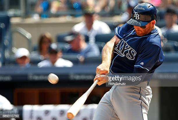 Brad Miller of the Tampa Bay Rays hits a home run during the sixth inning of a game against the New York Yankees at Yankee Stadium on August 13 2016...
