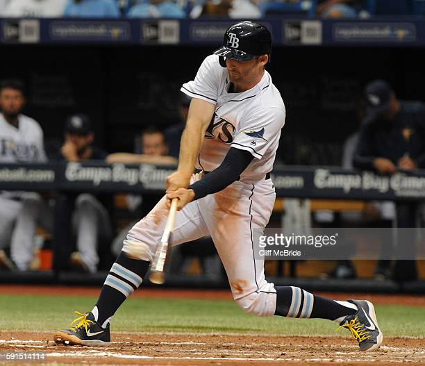 Brad Miller of the Tampa Bay Rays hits a single in the sixth inning against the San Diego Padres on August 17 2016 at Tropicana Field in St...