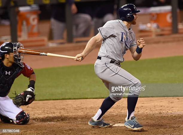 Brad Miller of the Tampa Bay Rays hits an RBI single against the Minnesota Twins during the eighth inning of the game on June 3 2016 at Target Field...