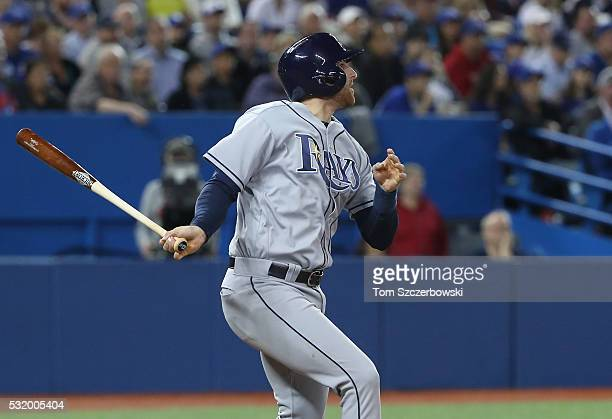 Brad Miller of the Tampa Bay Rays hits an RBI triple in the second inning during MLB game action against the Toronto Blue Jays on May 17 2016 at...