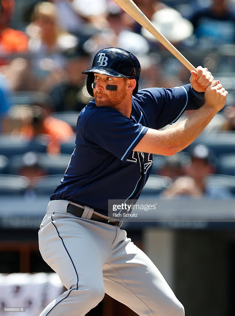 Brad Miller of the Tampa Bay Rays in action against the New York Yankees during a game at Yankee Stadium on August 14 in the Bronx borough of New...