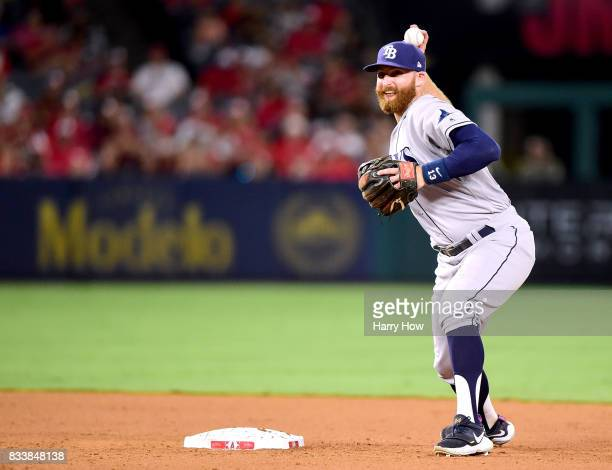 Brad Miller of the Tampa Bay Rays makes a throw to first during the game against the Los Angeles Angels at Angel Stadium of Anaheim on July 14 2017...