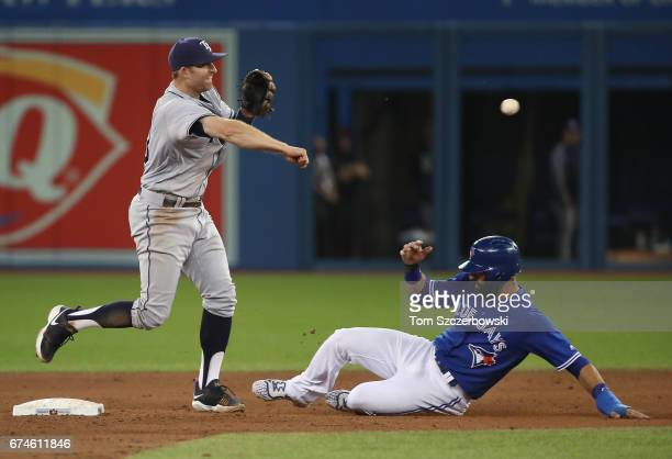 Brad Miller of the Tampa Bay Rays turns a double play in the fifth inning during MLB game action as Jose Bautista of the Toronto Blue Jays slides...
