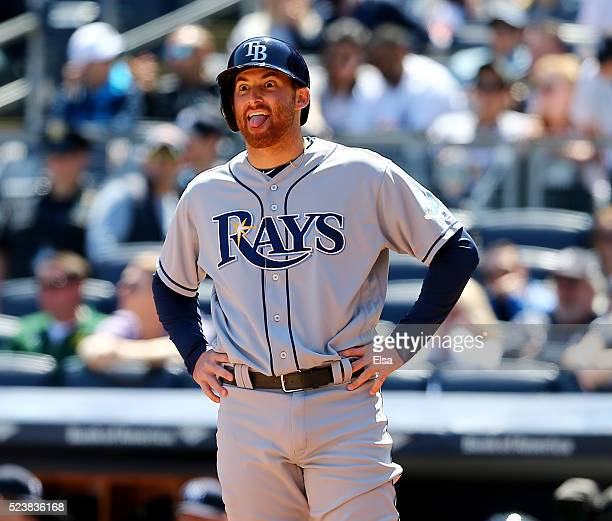 Brad Miller of the Tampa Bay Rays waits at home to celebrate with teammate Steven Souza Jr after he hit a two run home run in the first inning...