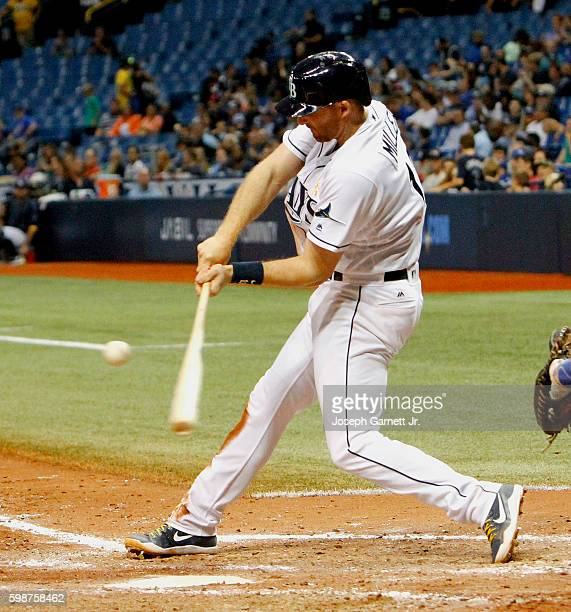 Brad Miller of the Tampa Bay Raysfouls off a pitch during the sixth inning of the game against the Toronto Blue Jays at Tropicana Field on September...