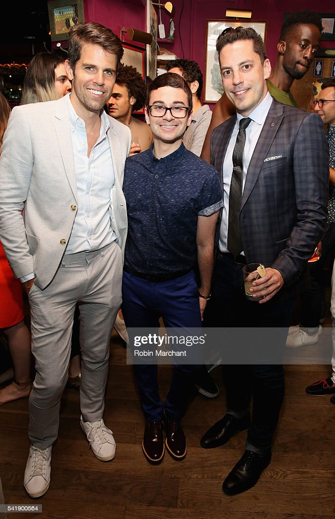 Brad Minor, Christian Siriano and Dante Mastri attend American Express Launches National LGBTQ PRIDE Campaign To 'Express Love' at The Spotted Pig on June 20, 2016 in New York City.