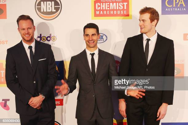 Brad Newley Kevin Lisch and Tom Garlepp of the Sydney Kings pose with wife Ranae during the 2017 NBL MVP Awards Night at Peninsula on February 13...
