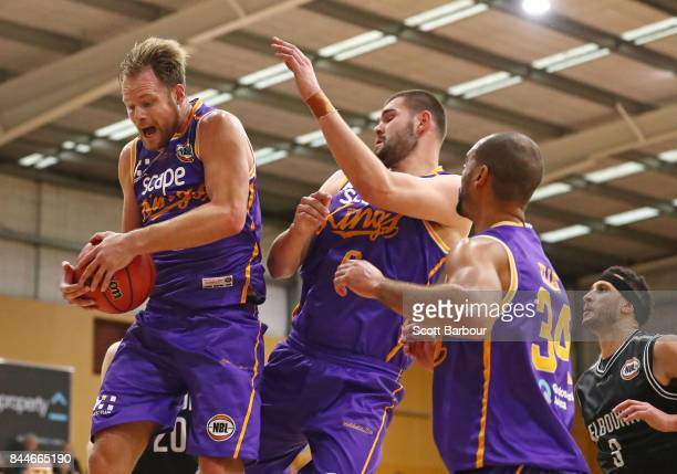 Brad Newley of the Kings competes for the ball during the 2017 NBL Blitz preseason match between Melbourne United and the Sydney Kings at Traralgon...