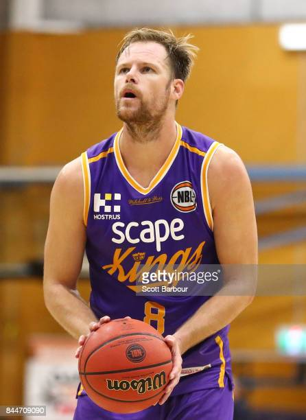 Brad Newley of the Kings controls the ball during the 2017 NBL Blitz preseason match between Melbourne United and the Sydney Kings at Traralgon...