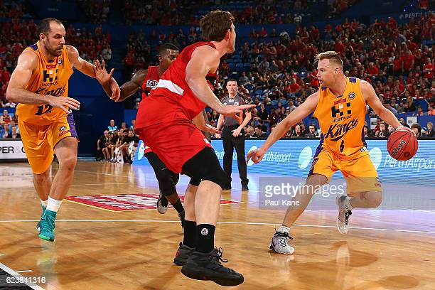 Brad Newley of the Kings controls the ball during the round seven NBL match between the Perth Wildcats and the Sydney Kings at Perth Arena on...