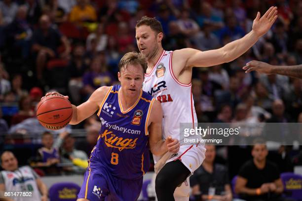 Brad Newley of the Kings controls the ball during the round two NBL match between the Sydney Kings and the Illawarra Hawks at Qudos Bank Arena on...