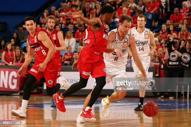 Brad Newley of the Kings dribbles the ball during the round five NBL match between the Perth Wildcats and the Sydney Kings at Perth Arena on November...