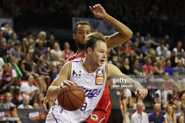 Brad Newley of the Kings drives to the basket during the round four NBL match between the Illawarra Hawks and the Sydney Kings at Wollongong...