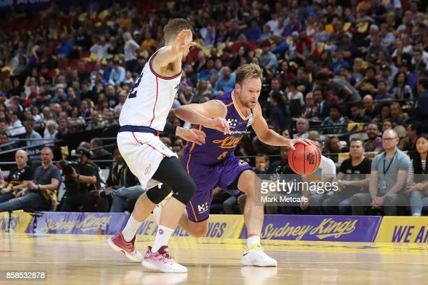 Brad Newley of the Kings drives to the basket during the round one NBL match between the Sydney Kings and the Adelaide 36ers at Qudos Bank Arena on...
