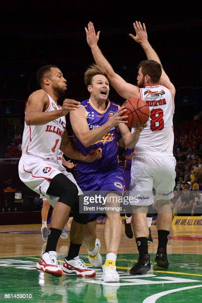 Brad Newley of the Kings drives towards the basket during the round two NBL match between the Sydney Kings and the Illawarra Hawks at Qudos Bank...