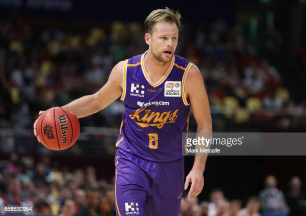 Brad Newley of the Kings in action during the round one NBL match between the Sydney Kings and the Adelaide 36ers at Qudos Bank Arena on October 7...