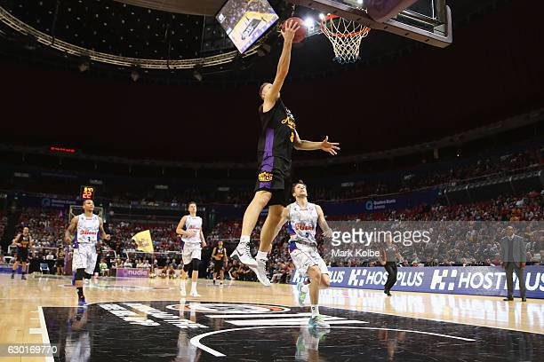 Brad Newley of the Kings lays up a shot during the round 11 NBL match between Sydney and Adelaide on December 18 2016 in Sydney Australia