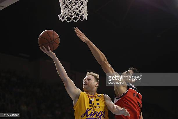 Brad Newley of the Kings lays up a shot during the round nine NBL match between the Illawarra Hawks and the Sydney Kings at the Wollongong...
