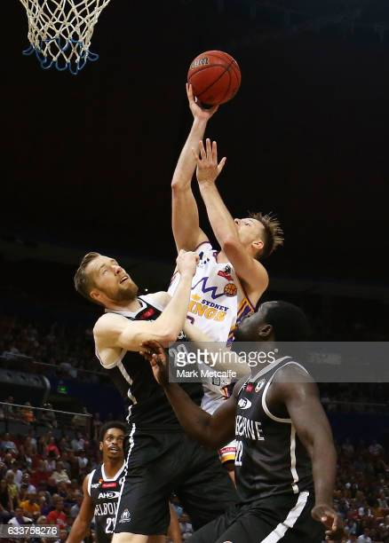 Brad Newley of the Kings lays up during the round 18 NBL match between the Sydney Kings and Melbourne United at Qudos Bank Arena on February 4 2017...