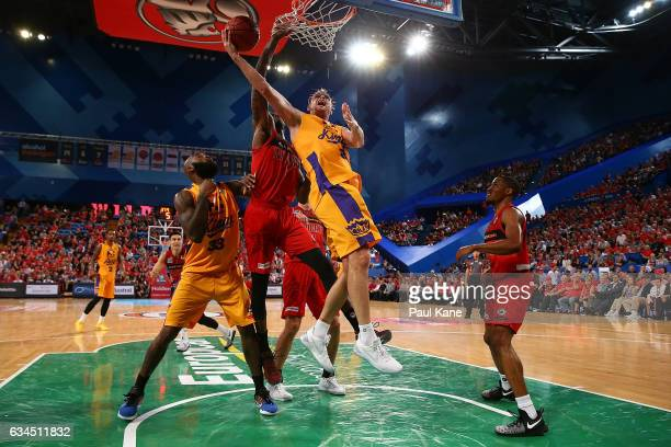 Brad Newley of the Kings lays up during the round 19 NBL match between the Perth Wildcats and the Sydney Kings at Perth Arena on February 10 2017 in...