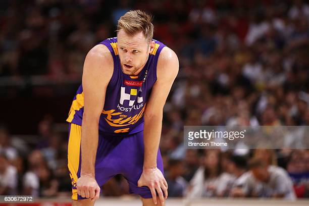 Brad Newley of the Kings looks on during the round 13 NBL match between the Sydney Kings and New Zealand Breakers on December 30 2016 in Sydney...