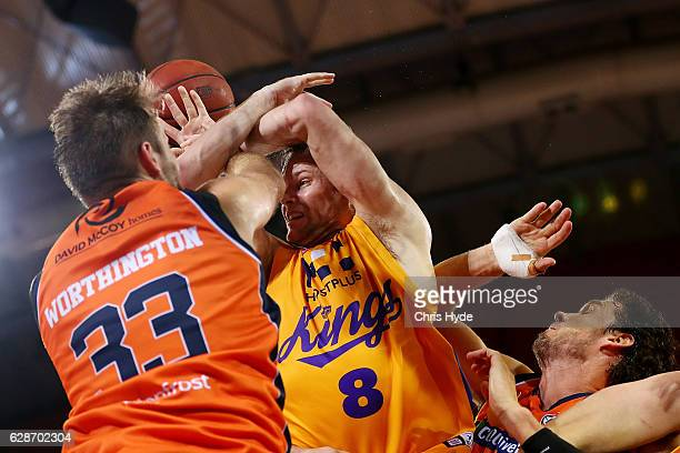 Brad Newley of the Kings passes during the round 10 NBL match between the Cairns Taipans and the Sydney Kings at the Cairns Convention Centre on...