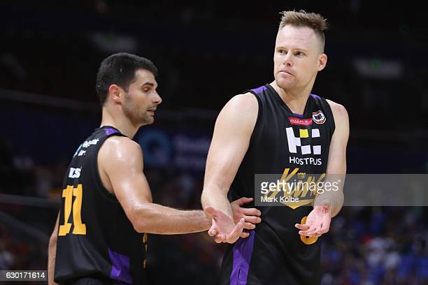 Brad Newley of the Kings questions the umpires call during the round 11 NBL match between Sydney and Adelaide on December 18 2016 in Sydney Australia