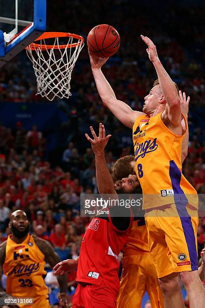 Brad Newley of the Kings rebounds against Matt Knight of the Wildcats during the round seven NBL match between the Perth Wildcats and the Sydney...