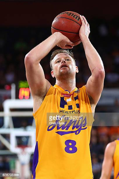 Brad Newley of the Kings shoots a free throw during the round 10 NBL match between the Cairns Taipans and the Sydney Kings at the Cairns Convention...