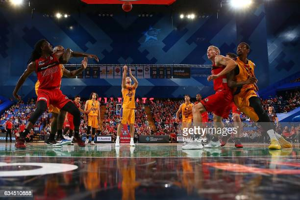 Brad Newley of the Kings shoots a free throw during the round 19 NBL match between the Perth Wildcats and the Sydney Kings at Perth Arena on February...