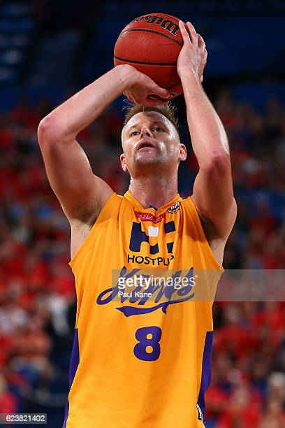 Brad Newley of the Kings shoots a free throw during the round seven NBL match between the Perth Wildcats and the Sydney Kings at Perth Arena on...