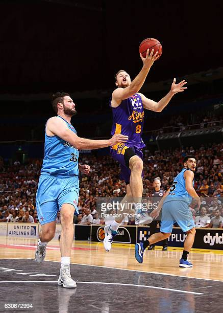 Brad Newley of the Kings shoots during the round 13 NBL match between the Sydney Kings and New Zealand Breakers on December 30 2016 in Sydney...