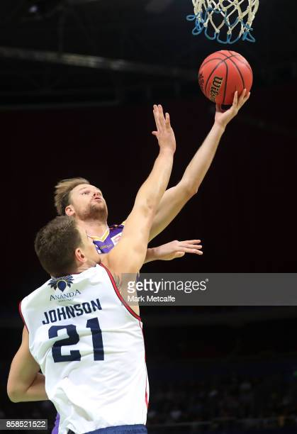 Brad Newley of the Kings shoots during the round one NBL match between the Sydney Kings and the Adelaide 36ers at Qudos Bank Arena on October 7 2017...