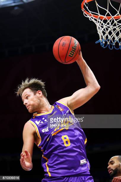 Brad Newley of the Kings takes the rebound during the round five NBL match between the Sydney Kings and the Illawarra Hawks at Qudos Bank Arena on...