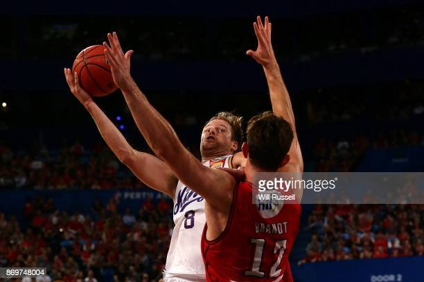 Brad Newley of the Kings tries to score during the round five NBL match between the Perth Wildcats and the Sydney Kings at Perth Arena on November 3...