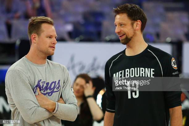 Brad Newley of the Sydney Kings and David Anderson of Melbourne United talk prior to the round six NBL match between Melbourne United and the Sydney...