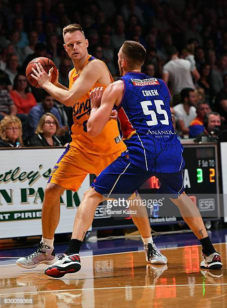 Brad Newley of the Sydney Kings attempts to pass the ball during the round 11 NBL match between Adelaide 36ers and the Sydney Kings on December 16...